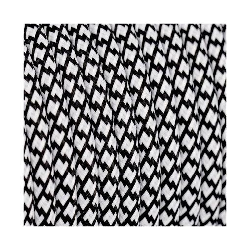 Διακοσμητικό υφασμάτινο καλώδιο  Ζιγκ-Ζαγκ Λευκό&Μαύρο-701060