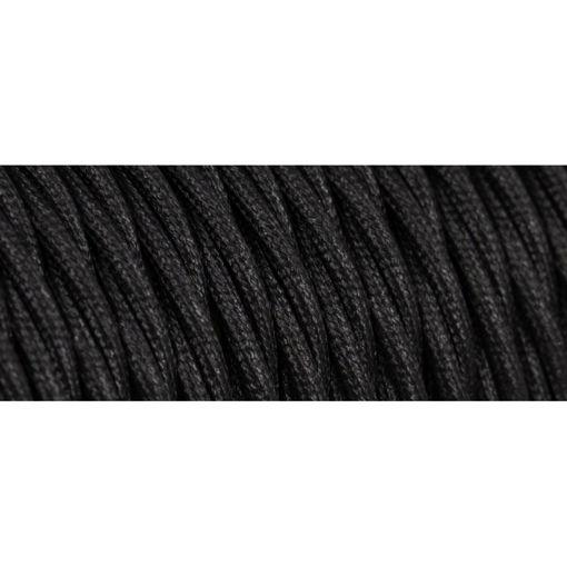 Διακοσμητικό υφασμάτινο καλώδιο στριφτό Μαύρο-701063