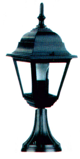Κολωνάκι αλουμινίου τετράγωνο Ε27 IP44 Μαύρο-105422