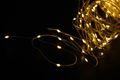 Λαμπάκια LED με χρυσό σύρμα 100L με τροφοδοτικό & controller Θερμό Φως-841015