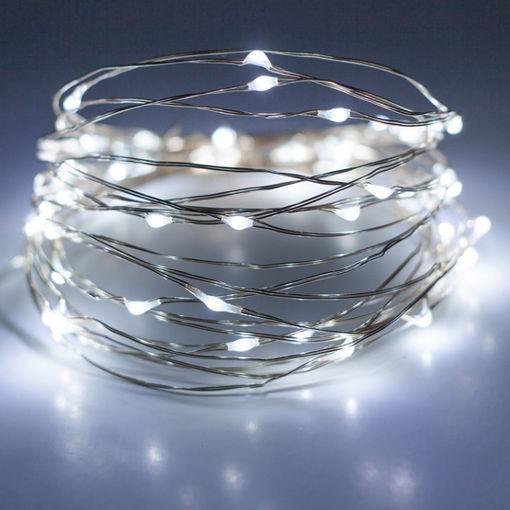 Λαμπάκια LED με ασημί σύρμα 100L με τροφοδοτικό & controller Ψυχρό Φως-841019