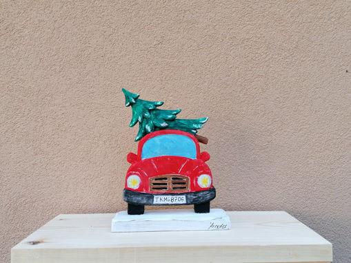 "Picture of Ξυλόγλυπτο διακοσμητικό ""Αυτοκίνητο με έλατο"" 22x17cm"